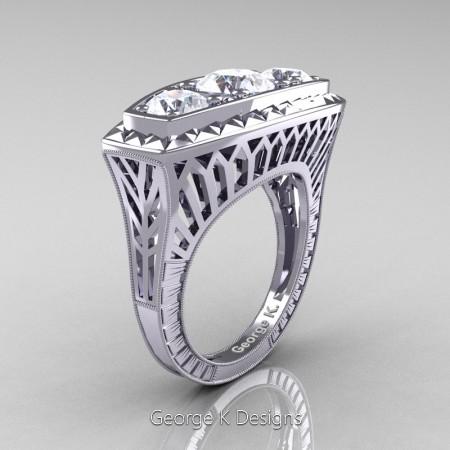 Modern-Art-Deco-14K-White-Gold-Three-Stone-White-Sapphire-Engagement-Ring-R368-14KWGWS-P