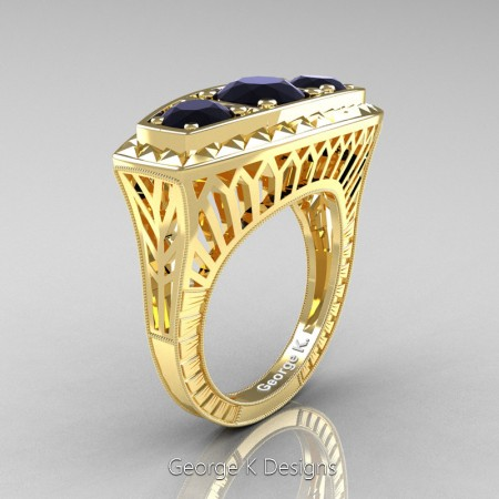 Modern-Art-Deco-14K-Yellow-Gold-2-Ct-Three-Stone-Black-Diamond-Engraved-Engagement-Ring-R368-14KYGBG-P