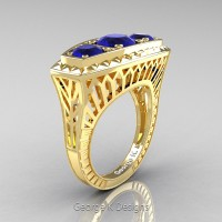 Art Deco 14K Yellow Gold Three Stone 2.0 Ct Blue Sapphire Engagement Ring R368-14KYGBS