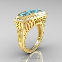 Art Deco 14K Yellow Gold Three Stone 2.0 Ct Blue Topaz Engagement Ring R368-14KYGBT