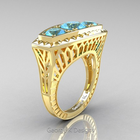 Modern-Art-Deco-14K-Yellow-Gold-2-Ct-Three-Stone-Blue-Topaz-Engraved-Engagement-Ring-R368-14KYGBT-P