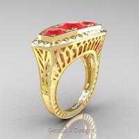 Art Deco 14K Yellow Gold Three Stone 2.0 Ct Ruby Engagement Ring R368-14KYGR