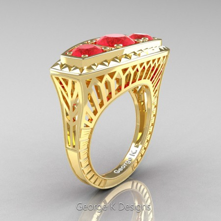 Modern-Art-Deco-14K-Yellow-Gold-2-Ct-Three-Stone-Ruby-Engraved-Engagement-Ring-R368-14KYGR-P