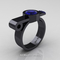 Modern Italian 14K Black Gold 1.0 Ct Blue Sapphire Engagement Ring R348-14KBGBS