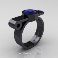 Modern Italian 14K Black Gold 1.0 Ct Blue Sapphire Engagement Ring R348-14KBGBS