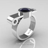 Modern Italian 14K White Gold 1.0 Ct Black and White Diamond Engagement Ring R348-14KWGDBD