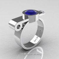 Modern Italian 14K White Gold 1.0 Ct Blue Sapphire Diamond Engagement Ring R348-14KWGDBS