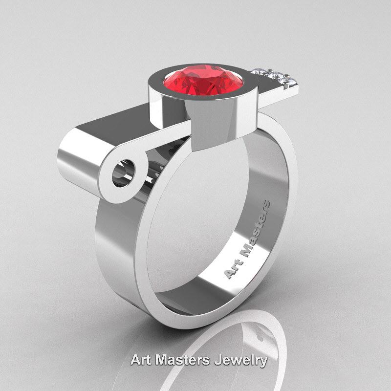 Modern Italian 14k White Gold 1 0 Ct Ruby Diamond Engagement Ring