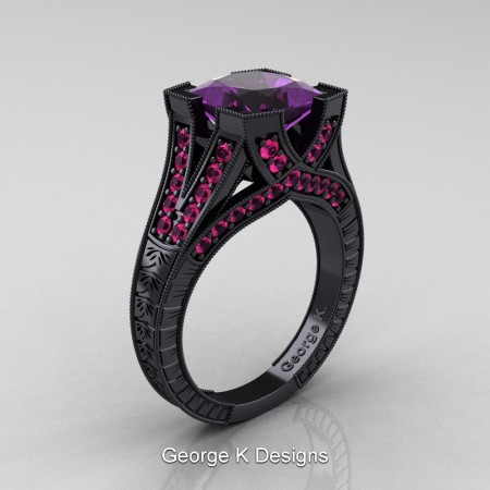 Modern-Vintage-14K-Black-Gold-3-Ct-Princess-Amethyst-Pink-Sapphire-Engraved-Solitaire-Engagement-Ring-R367P-14KBGPSAM-P