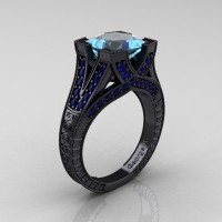 Modern Vintage 14K Black Gold 3.0 Ct Princess Aquamarine Blue Sapphire Engraved Engagement Ring R367P-14KBGBSAQ