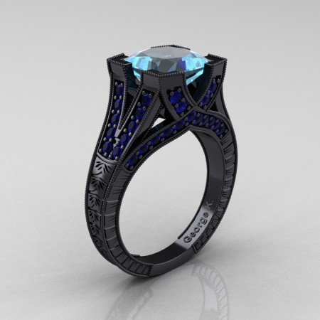 Modern-Vintage-14K-Black-Gold-3-Ct-Princess-Aquamarine-Blue-Sapphire-Engraved-Solitaire-Engagement-Ring-R367P-14KBGBSAQ-P