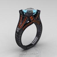 Modern Vintage 14K Black Gold 3.0 Ct Princess Aquamarine Orange Sapphire Engraved Engagement Ring R367P-14KBGOSAQ