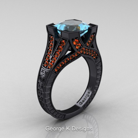 Modern-Vintage-14K-Black-Gold-3-Ct-Princess-Aquamarine-Orange-Sapphire-Engraved-Solitaire-Engagement-Ring-R367P-14KBGOSAQ-P