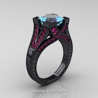 Modern Vintage 14K Black Gold 3.0 Ct Princess Aquamarine Pink Sapphire Engraved Engagement Ring R367P-14KBGPSAQ