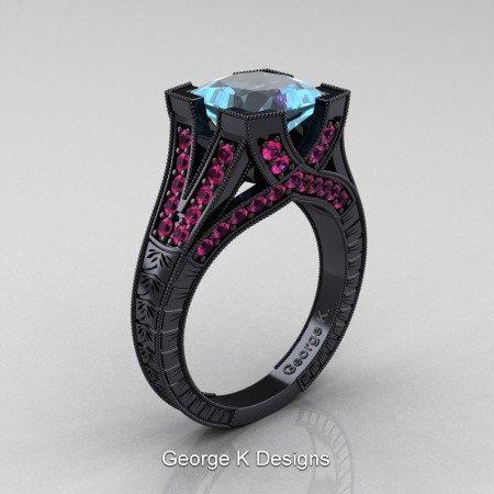 Modern-Vintage-14K-Black-Gold-3-Ct-Princess-Aquamarine-Pink-Sapphire-Engraved-Solitaire-Engagement-Ring-R367P-14KBGPSAQ-P