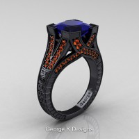 Classic 14K Black Gold 3.0 Ct Princess Blue and Orange Sapphire Engraved Engagement Ring R367P-14KBGOSBS