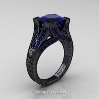 Classic 14K Black Gold 3.0 Ct Princess Blue Sapphire Engraved Engagement Ring R367P-14KBGBS