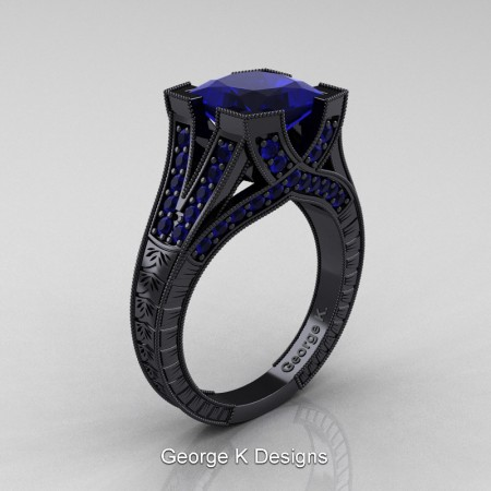Modern-Vintage-14K-Black-Gold-3-Ct-Princess-Blue-Sapphire-Engraved-Solitaire-Engagement-Ring-R367P-14KBGBS-P