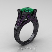 Modern Vintage 14K Black Gold 3.0 Ct Princess Emerald Amethyst Engraved Engagement Ring R367P-14KBGAMEM