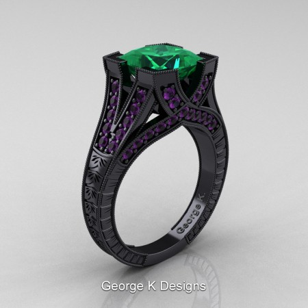Modern-Vintage-14K-Black-Gold-3-Ct-Princess-Emerald-Amethyst-Engraved-Solitaire-Engagement-Ring-R367P-14KBGAMEM-P