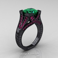 Modern Vintage 14K Black Gold 3.0 Ct Princess Emerald Pink Sapphire Engraved Engagement Ring R367P-14KBGPSEM