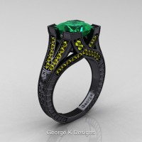 Modern Vintage 14K Black Gold 3.0 Ct Princess Emerald Yellow Sapphire Engraved Engagement Ring R367P-14KBGYSEM
