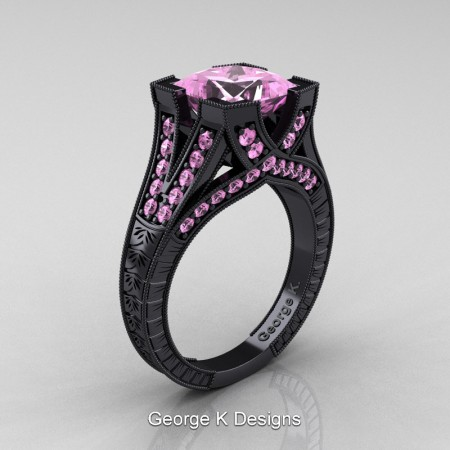 Modern-Vintage-14K-Black-Gold-3-Ct-Princess-Light-Pink-Sapphire-Engraved-Solitaire-Engagement-Ring-R367P-14KBGLPS-P