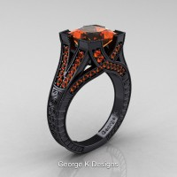Classic 14K Black Gold 3.0 Ct Princess Orange Sapphire Engraved Engagement Ring R367P-14KBGOS