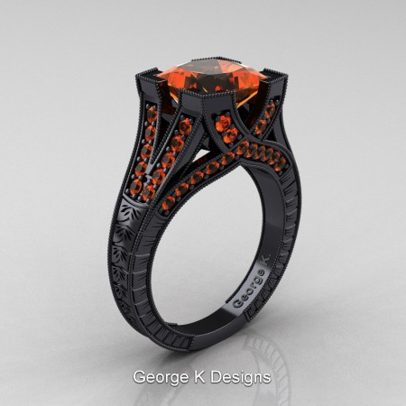 Modern-Vintage-14K-Black-Gold-3-Ct-Princess-Orange-Sapphire-Engraved-Solitaire-Engagement-Ring-R367P-14KBGOS-P