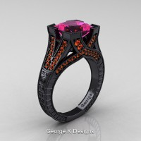 Classic 14K Black Gold 3.0 Ct Princess Pink and Orange Sapphire Engraved Engagement Ring R367P-14KBGOSPS