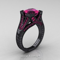 Classic 14K Black Gold 3.0 Ct Princess Pink Sapphire Engraved Engagement Ring R367P-14KBGPS