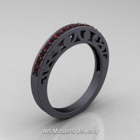 French Vintage 14K Matte Black Gold Ruby Wedding Band R102B-14KMBGR
