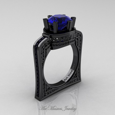 Buckingham-14K-Black-Gold-3-0-Ct-Blue-Sapphire-Black-Diamond-Crown-Solitaire-Wedding-Ring-R704-14KBGBS-P