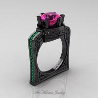 Buckingham 14K Black Gold 3.0 Ct Pink Sapphire Emerald Crown Solitaire Wedding Ring R704-14KBGEMPS
