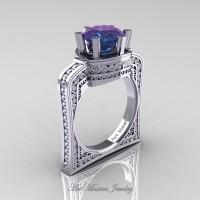 Buckingham 14K White Gold 3.0 Ct Chrysoberyl Alexandrite Diamond Crown Solitaire Wedding Ring R704-14KWGDAL