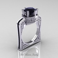 Buckingham 14K White Gold 3.0 Ct Black Diamond Crown Solitaire Wedding Ring R704-14KWGBD