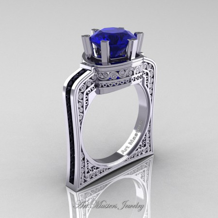 Buckingham-14K-White-Gold-3-0-Ct-Blue-Sapphire-Black-Diamond-Crown-Solitaire-Wedding-Ring-R704-14KWGBDBS-P