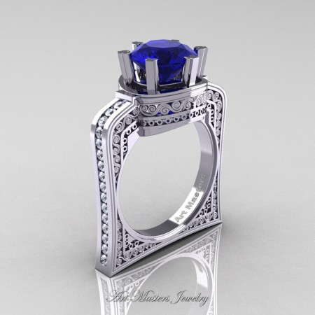 Buckingham-14K-White-Gold-3-0-Ct-Blue-Sapphire-Diamond-Crown-Solitaire-Wedding-Ring-R704-14KWGDBS-P