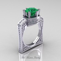 Buckingham 14K White Gold 3.0 Ct Emerald Diamond Crown Solitaire Wedding Ring R704-14KWGDEM