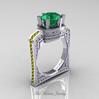 Buckingham 14K White Gold 3.0 Ct Emerald Yellow Sapphire Crown Solitaire Wedding Ring R704-14KWGYSEM