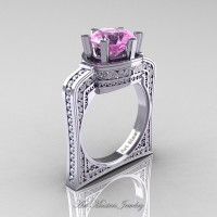 Buckingham 14K White Gold 3.0 Ct Light Pink Sapphire Diamond Crown Solitaire Wedding Ring R704-14KWGDLPS