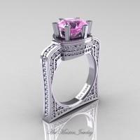 Buckingham 14K White Gold 3.0 Ct Light Pink Sapphire Diamond Crown Solitaire Wedding Ring R704-14KWGDLPS