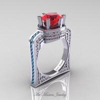 Buckingham 14K White Gold 3.0 Ct Ruby Aquamarine Crown Solitaire Wedding Ring R704-14KWGAQR