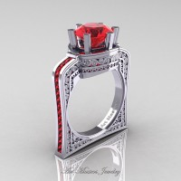 Buckingham 14K White Gold 3.0 Ct Ruby Crown Solitaire Wedding Ring R704-14KWGR