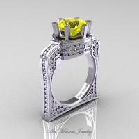 Buckingham 14K White Gold 3.0 Ct Yellow Sapphire Diamond Crown Solitaire Wedding Ring R704-14KWGDYS