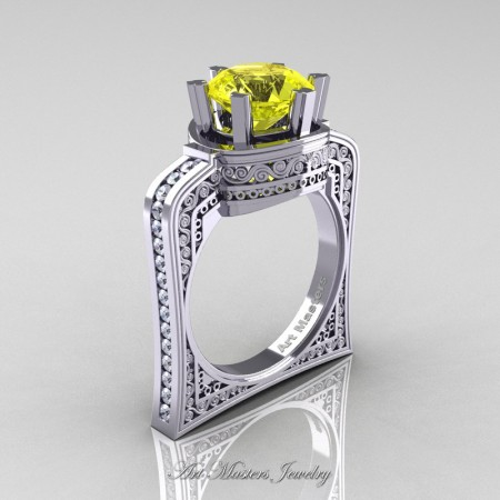 Buckingham-14K-White-Gold-3-0-Ct-Yellow-Sapphire-Diamond-Crown-Solitaire-Wedding-Ring-R704-14KWGDYS-P