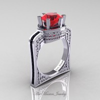Buckingham 14K White Gold 3.0 Ct Ruby Black Diamond Crown Solitaire Wedding Ring R704-14KWGBDR