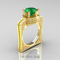 Buckingham 14K Yellow Gold 3.0 Ct Emerald Yellow Sapphire Crown Solitaire Wedding Ring R704-14KYGYSEM