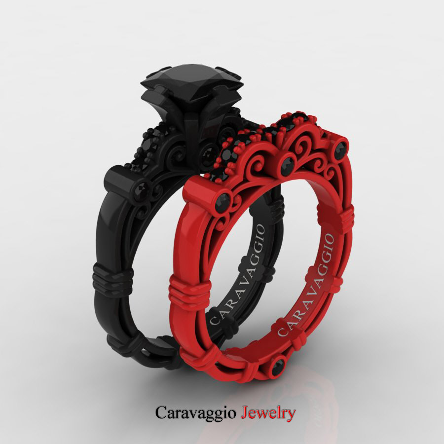 Black Wedding Bands.Exclusive Caravaggio 14k Black And Red Gold 1 25 Ct Princess Black Diamond Engagement Ring Wedding Band Set R623ps 14kbregbd