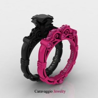 Caravaggio 14K Black and Fuchsia Pink Gold 1.25 Ct Princess Black Diamond Pink Sapphire Engagement Ring Wedding Band Set R623PS2-14KBFPGPSBD